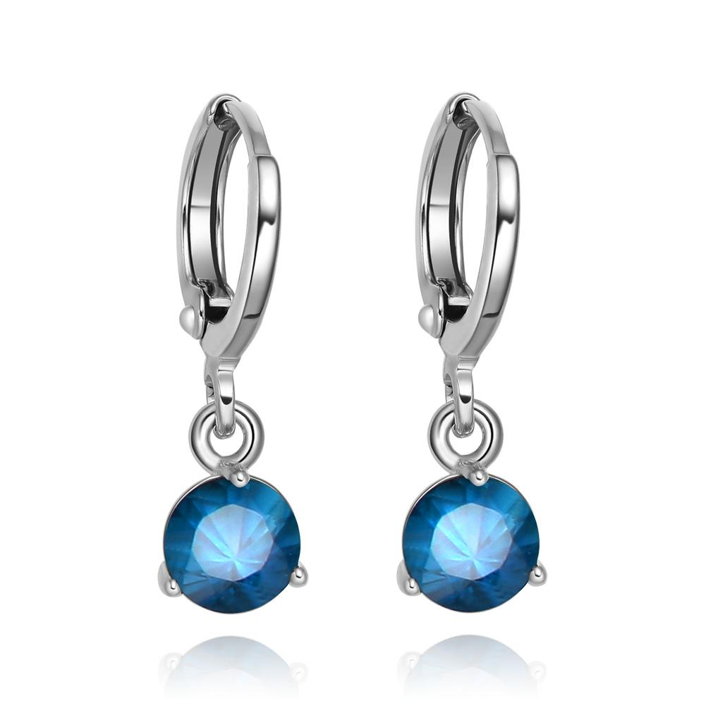 Small and Cute Round Royal Blue Sparkling Crystals Silver-Tone Eardrop Fashion Earrings