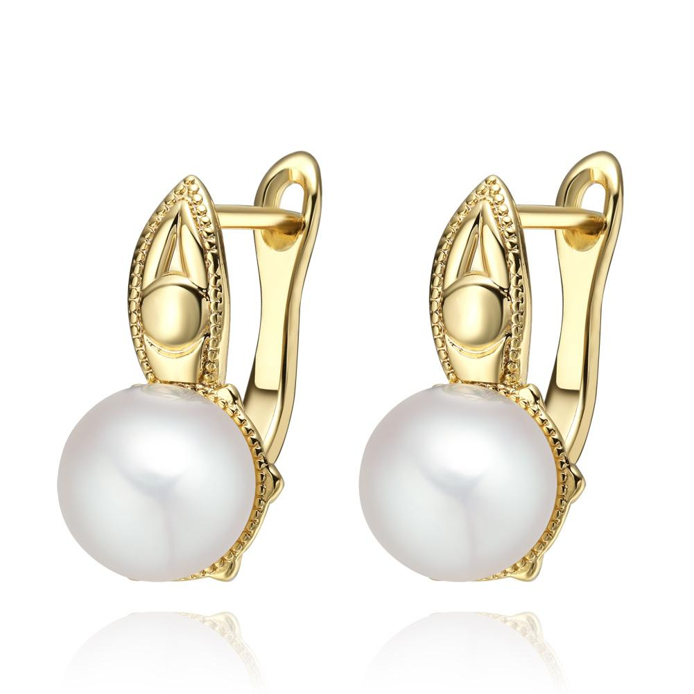 Beautiful Gold-Tone Snow White Simulated Pearls Evil Eye Protection Accents Fashionable Earrings