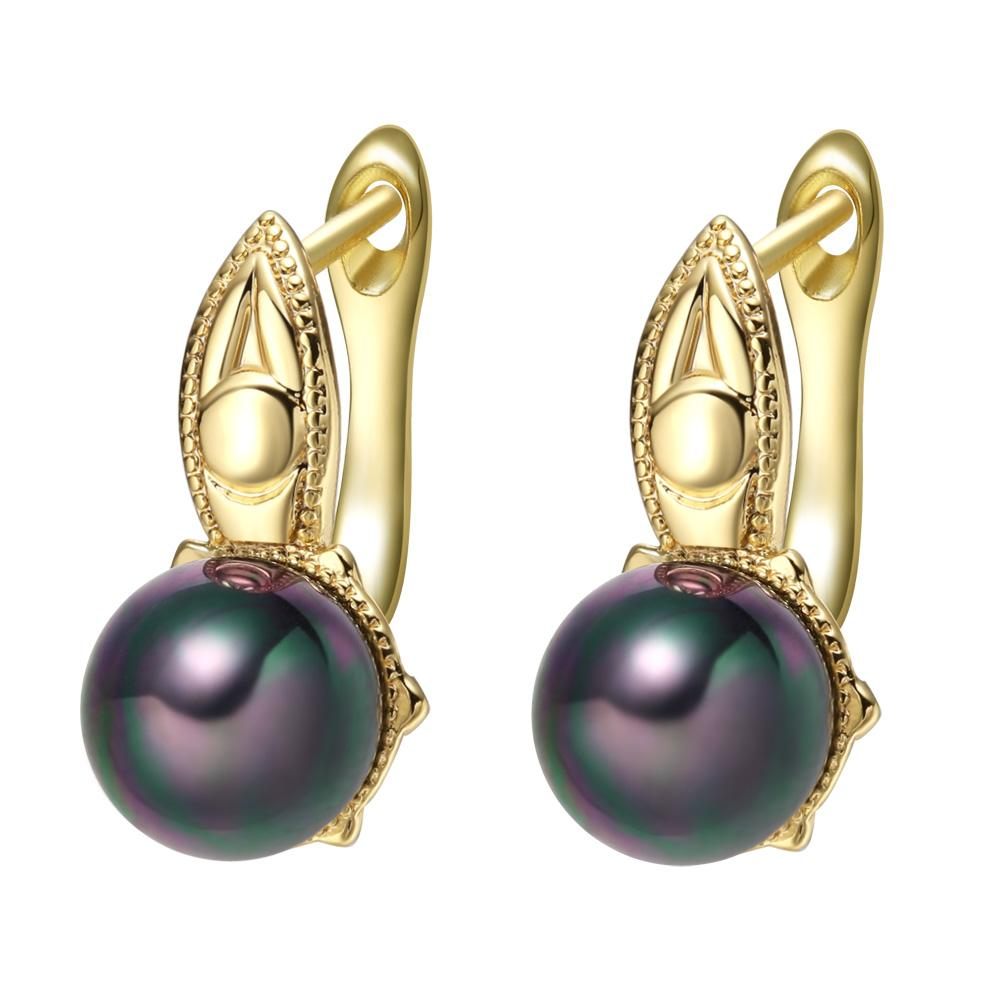 Cute Beautiful Gold-Tone Mystic Black Simulated Pearls Evil Eye Protection Accents Fashion Earrings