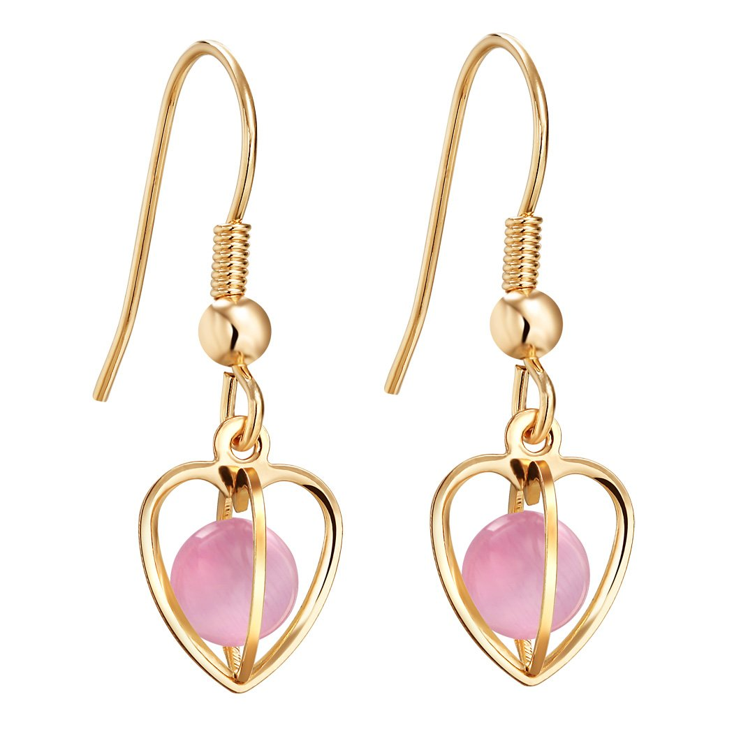 Magical Soul Heart Cage Spiritual Powers Sweet Pink Simulated Cats Eye Gold-Tone Amulets Earrings