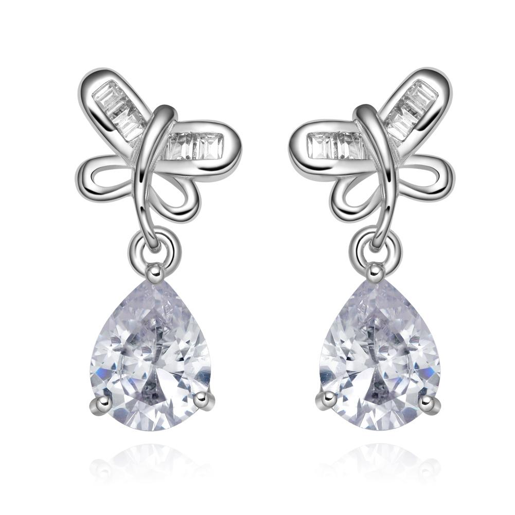 Unique Magical Lucky Butterflies Charms Silver-Tone Amulets Snow White Sparkling Crystals Earrings