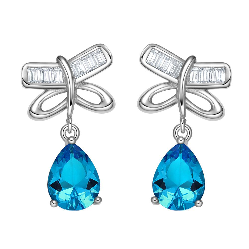 Unique Magical Lucky Butterflies Charms Silver-Tone Amulets Blue White Sparkling Crystals Earrings