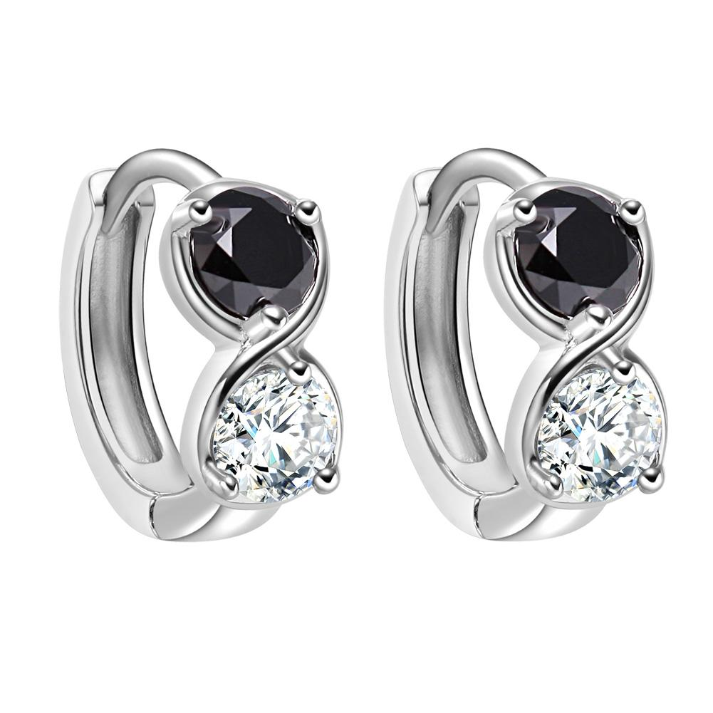 Small Cute Infinity Yin Yang Lucky Charm Silver-Tone Royal Black White Crystals Amulet Earrings