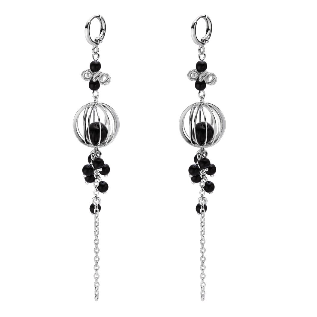 Magical Life Seed Silver-Tone Lucky Charms Black Accents Positive Energy Amulets Dangling Earrings