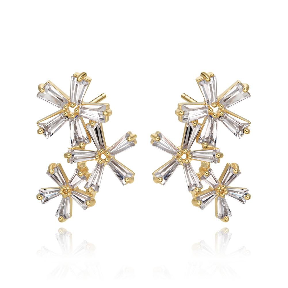 Fancy Beautiful Triple Lucky Magical Flowers Gold-Tone Lucky Charms Baguette Crystals Earrings