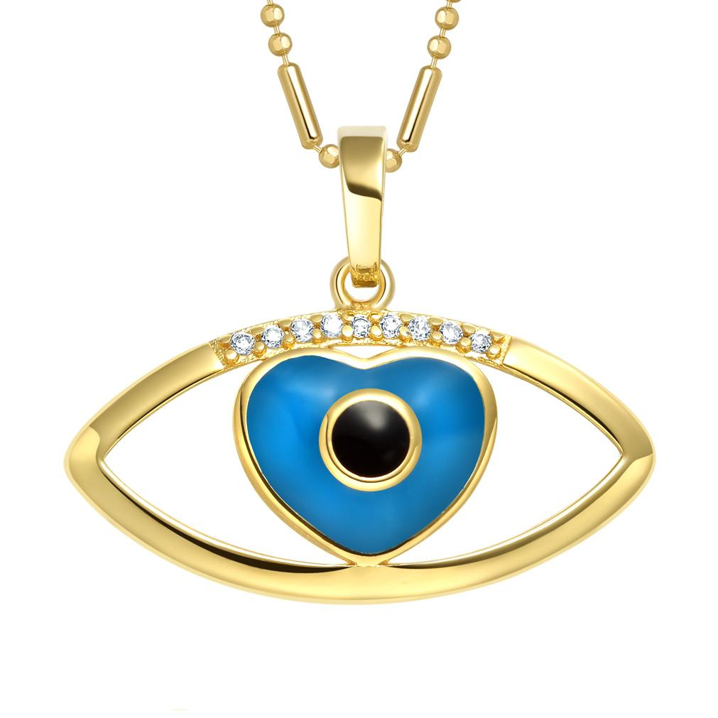 Magical Heart Shaped Evil Eye Protection Amulet Lucky Charm Gold-Tone Crystals 18 Inch Necklace