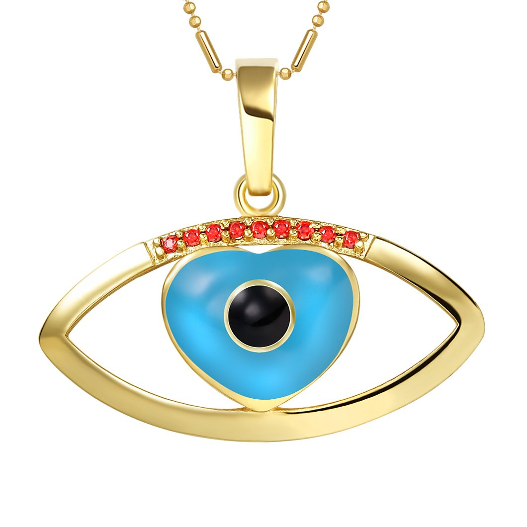 Cute Magical Heart Evil Eye Protection Amulet Lucky Charm Gold-Tone Royal Red Crystals Necklace