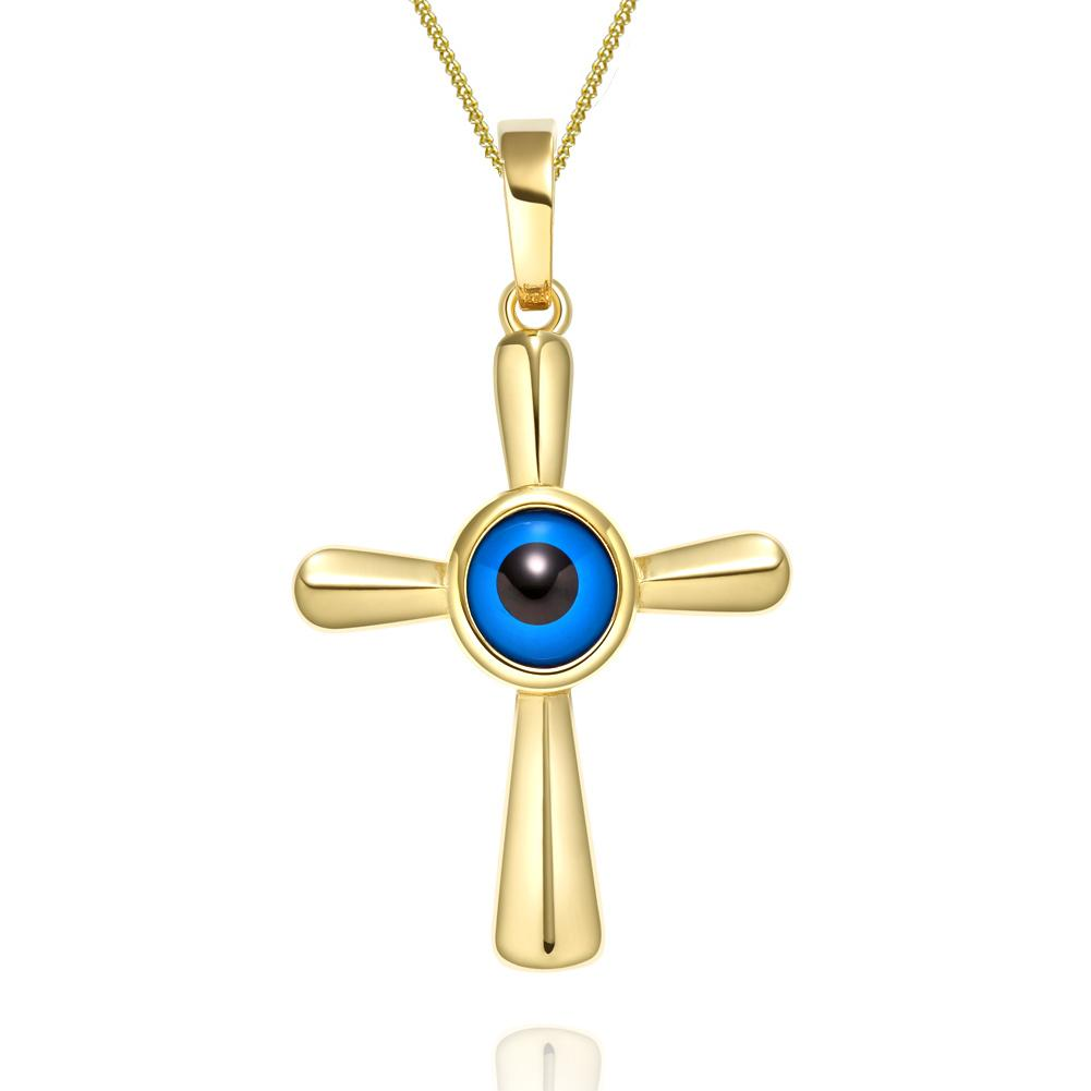 Magical Powers Cross Gold-Tone Evil Eye Protection Amulet Pendant Necklace