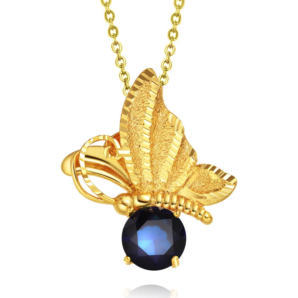 Magical Butterfly Good Luck Charm Amulet Gold-Tone Stud Royal Blue Crystal 18 Inch Necklace