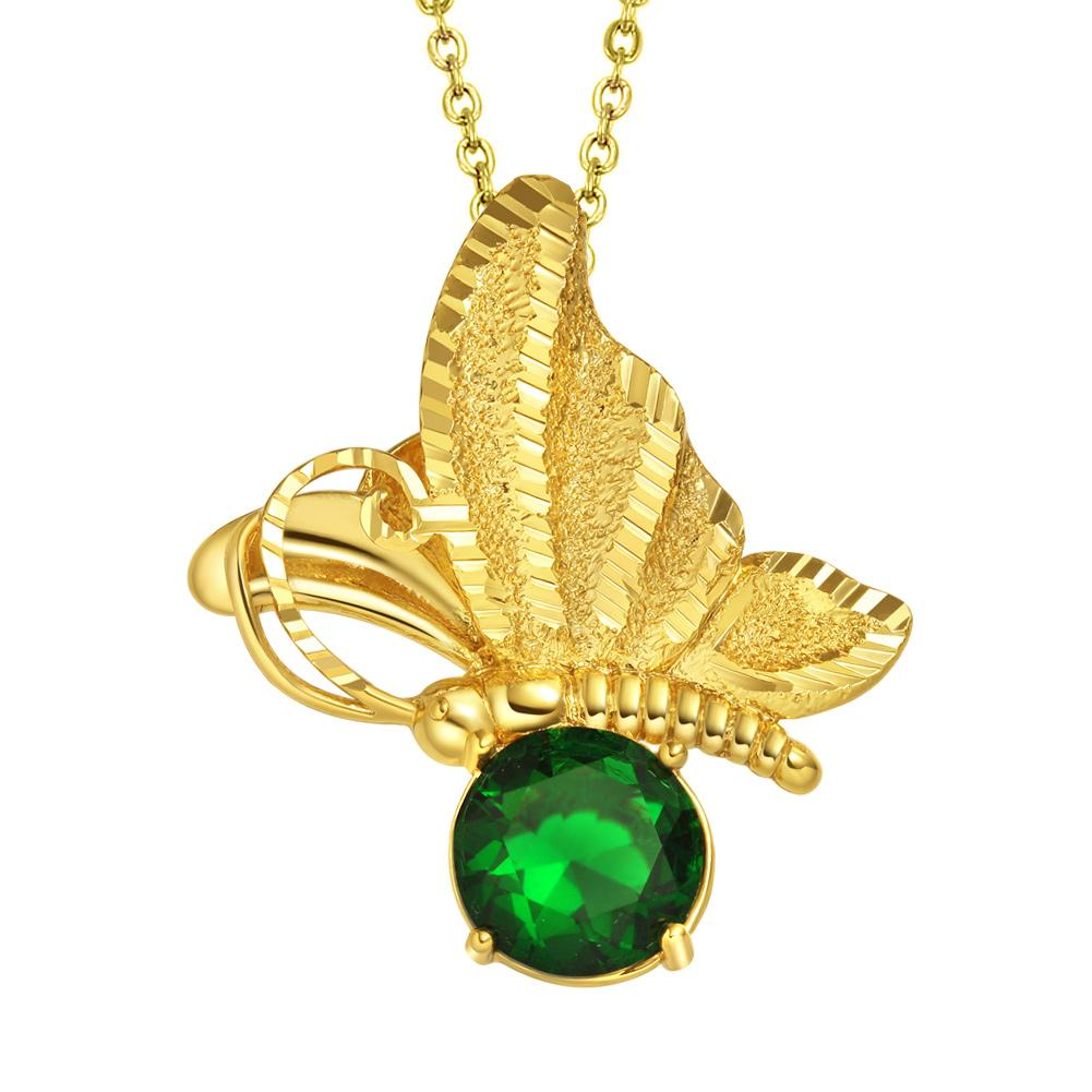 Magical Butterfly Good Luck Charm Amulet Gold-Tone Stud Royal Green Crystal 18 Inch Necklace