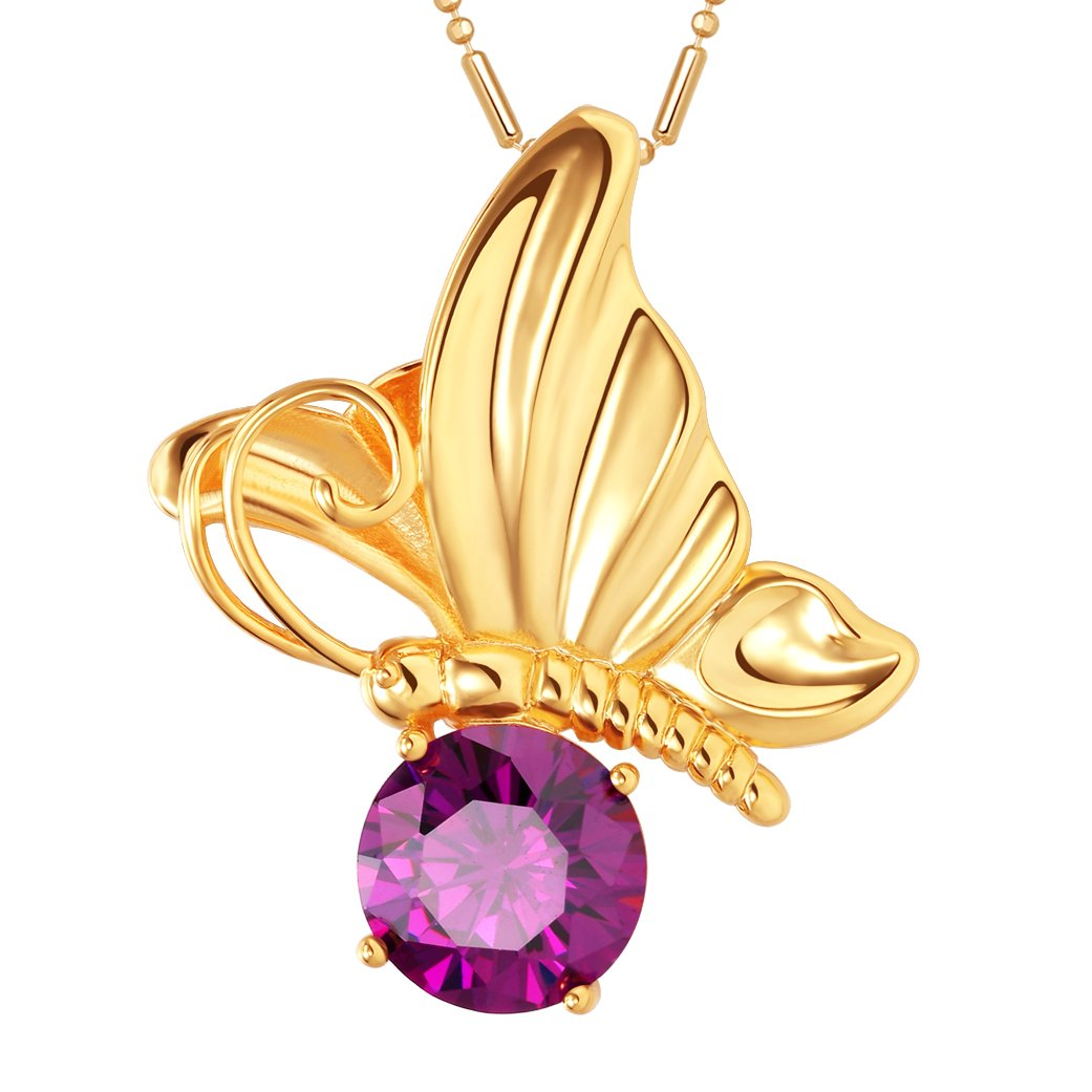 Magical Butterfly Good Luck Charm Amulet Gold-Tone Stud Royal Purple Crystal 18 Inch Necklace