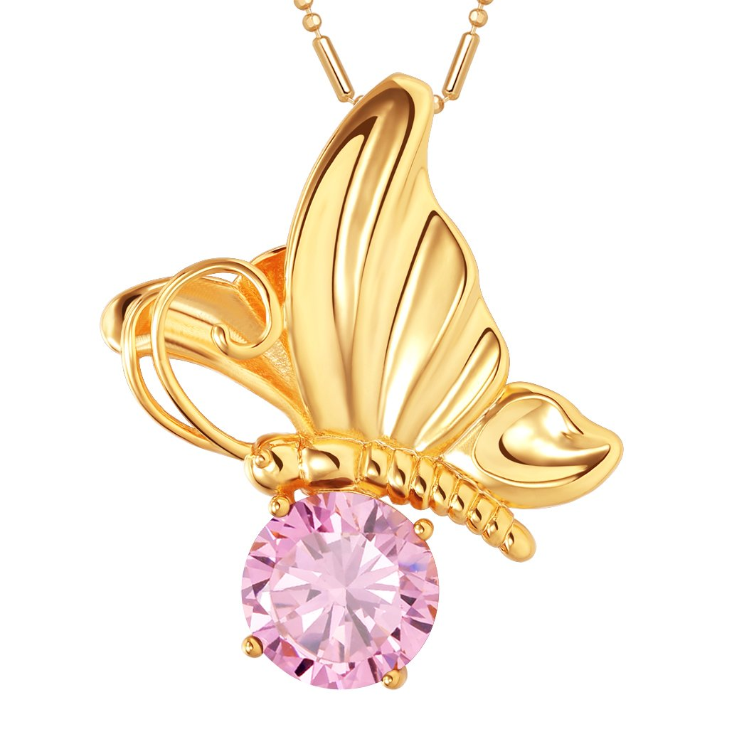 Magical Butterfly Good Luck Charm Amulet Gold-Tone Stud Sweet Pink Crystal 18 Inch Necklace