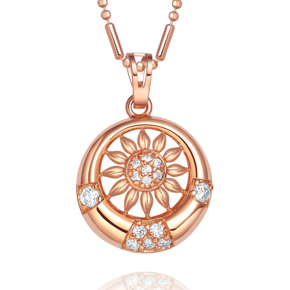 Magical Eternity Circle Positive Sun Energy Amulet Gold-Tone Crystals Charm 18 Inch Necklace