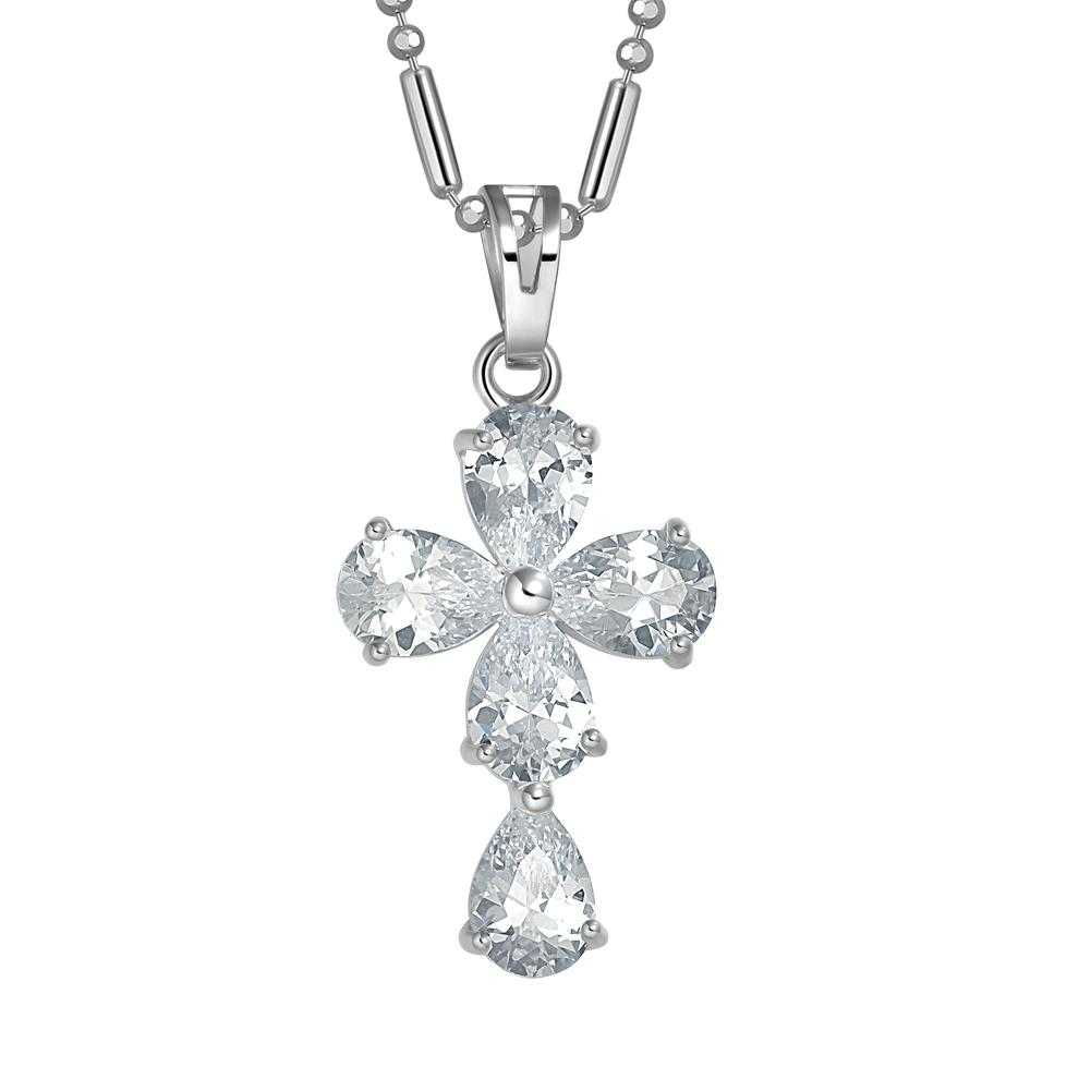 Magical Teardrop Style Cross Protection Powers Amulet Silver-Tone Sparkling Crystals Necklace