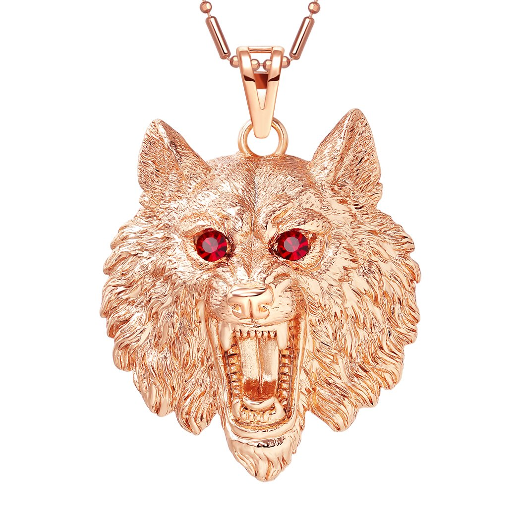 Howling Wolf Courage Protection Powers Amulet Gold-Tone Royal Red Sparkling Crystals Necklace