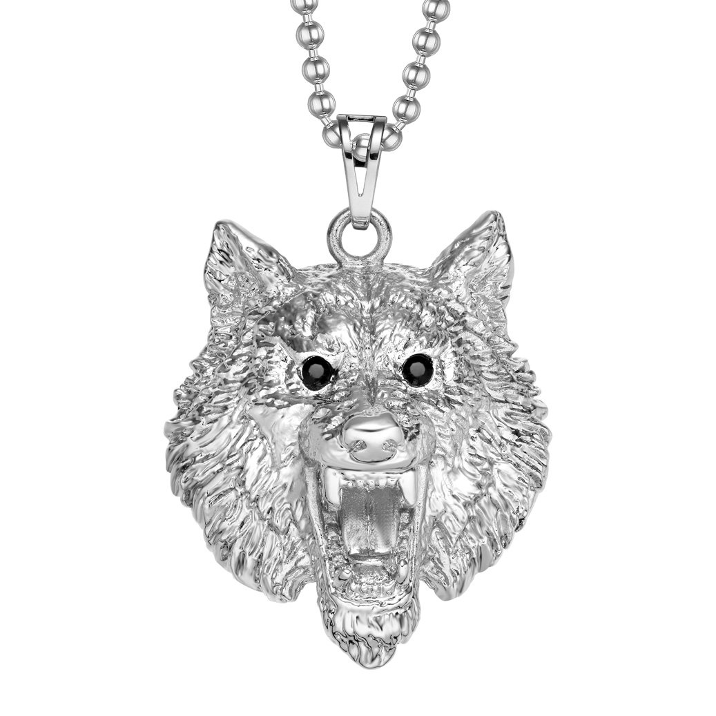 Howling Wolf Courage Protection Powers Amulet Silver-Tone Black Sparkling Crystals Necklace