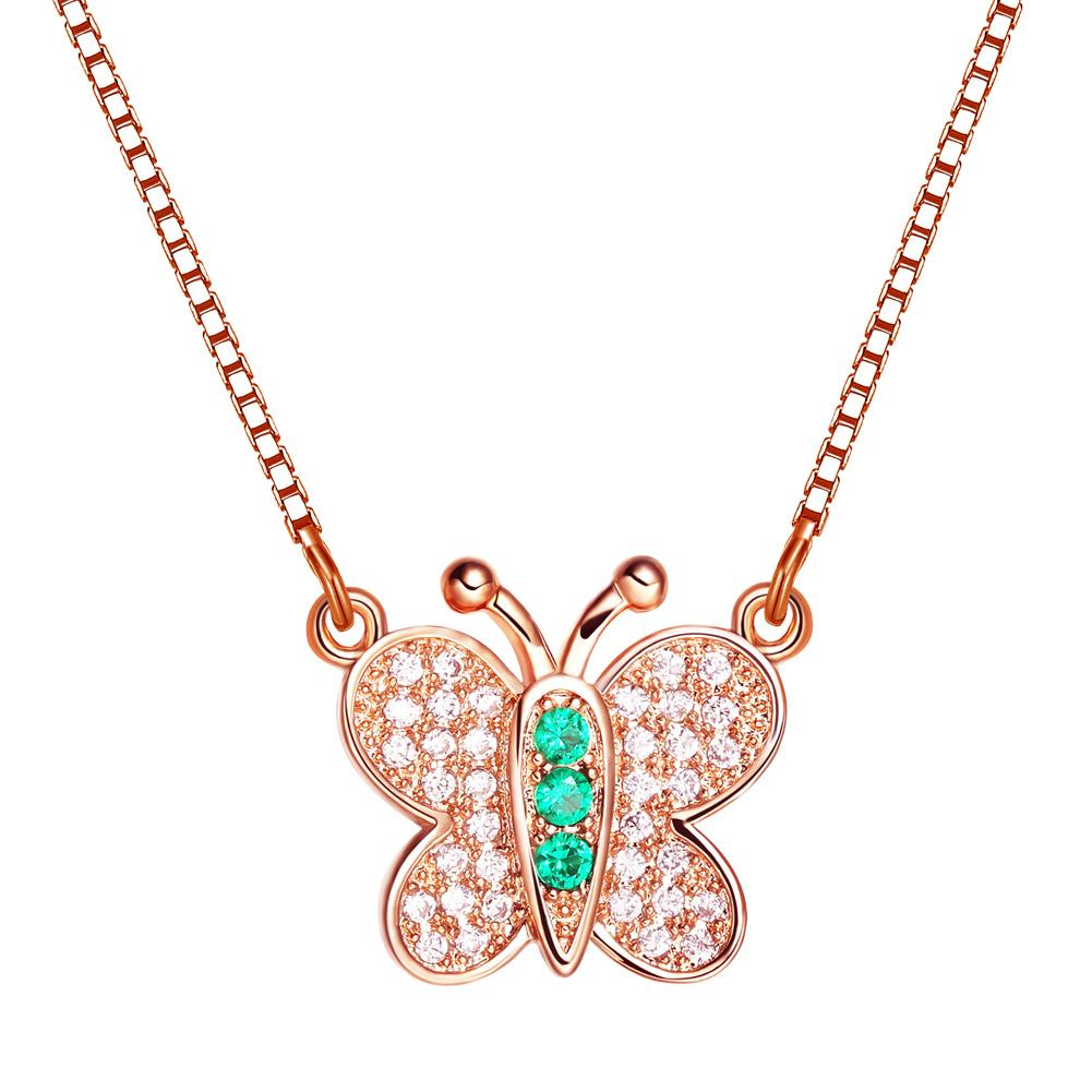 Small Cute Butterfly Lucky Charm Gold-Tone Amulet Royal Green White Sparkling Crystals Necklace