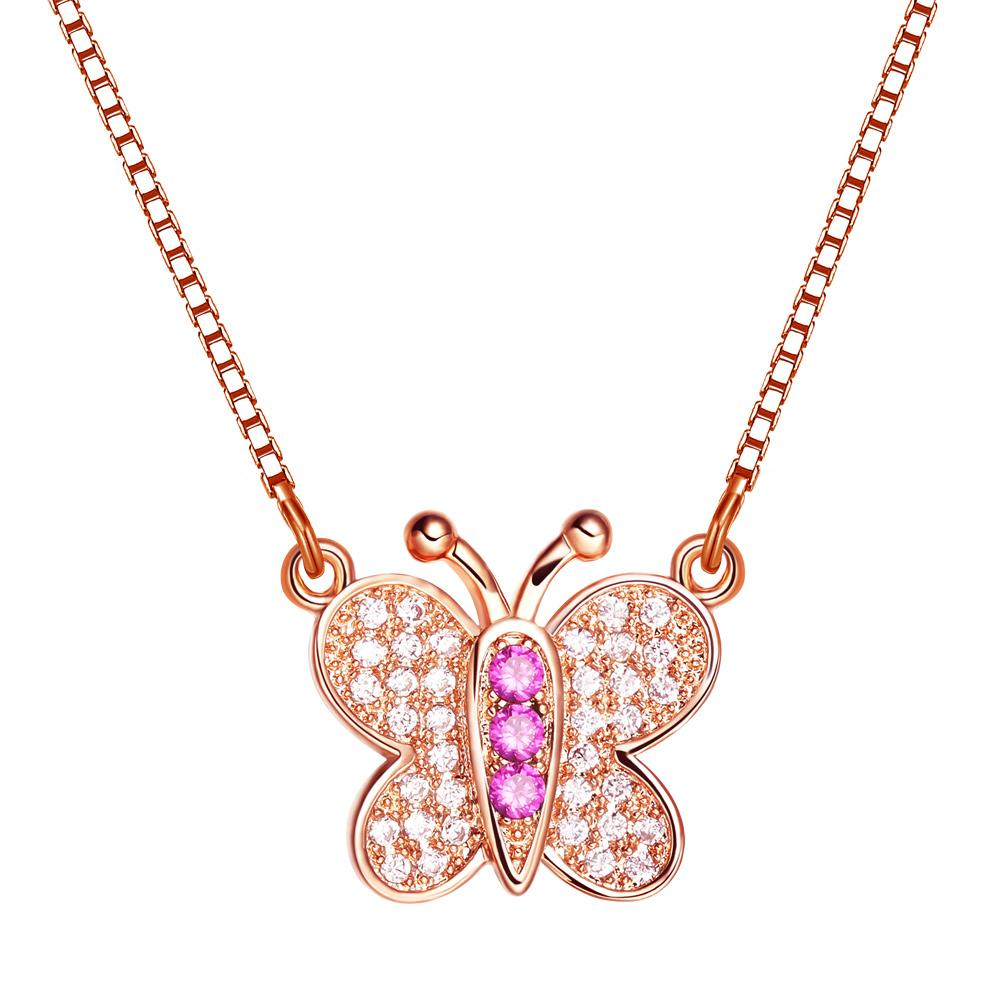 Small Cute Butterfly Lucky Charm Gold-Tone Amulet Royal Pink White Sparkling Crystals Necklace