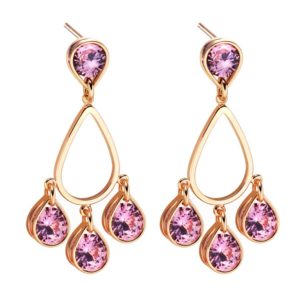 Beautiful Magical Triple Lucky Sparkling Royal Pink Crystals Gold-Tone Positive Amulet Earrings