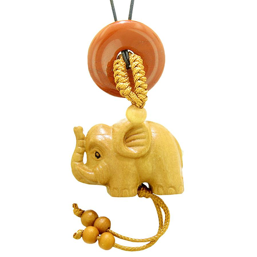 Baby Elephant Good Luck Car Charm or Home Decor Red Jasper Lucky Coin Donut Protection Magic Cute Amulet