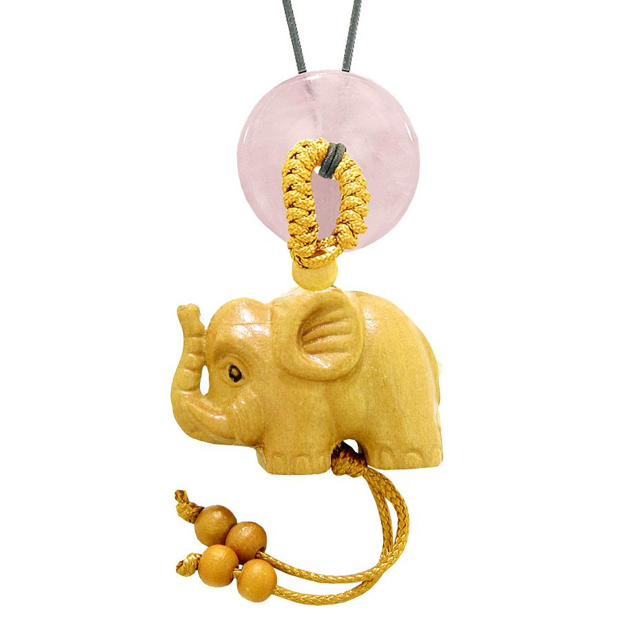 Baby Elephant Good Luck Car Charm or Home Decor Rose Quartz Lucky Coin Donut Protection Magic Cute Amulet