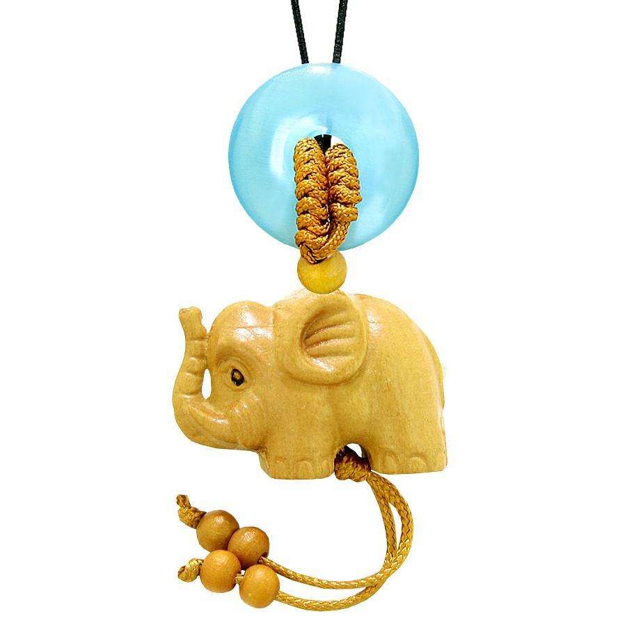 Baby Elephant Good Luck Car Charm or Home Decor Blue Simulated Cats Eye Lucky Coin Donut Cute Amulet
