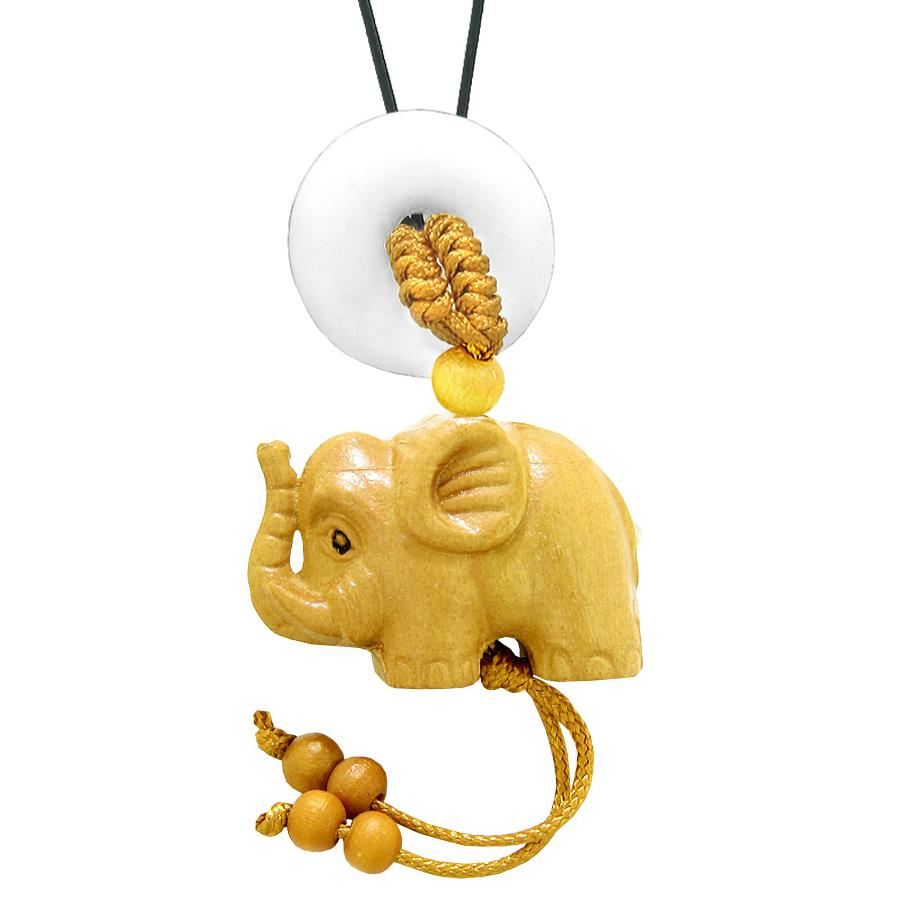 Baby Elephant Good Luck Car Charm or Home Decor White Quartz Lucky Coin Donut Protection Cute Amulet