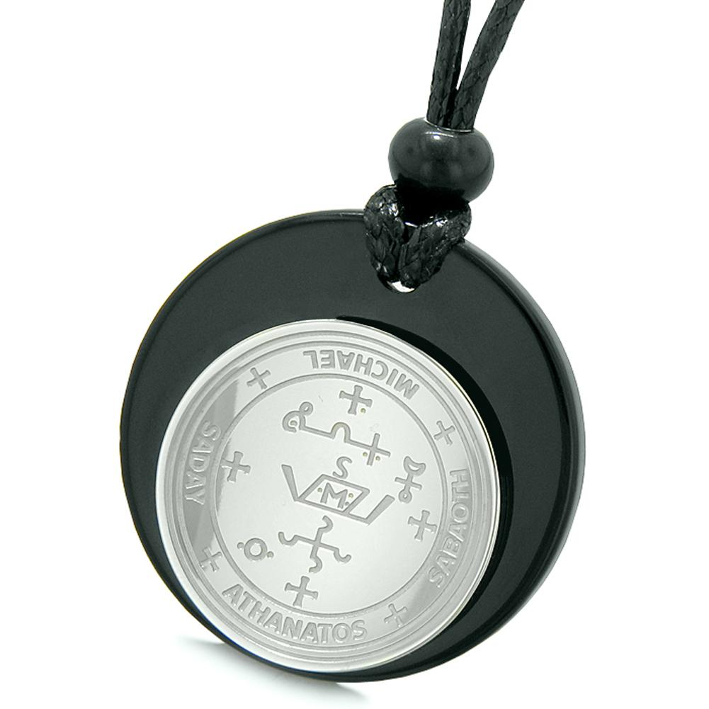 Unique Guardian Archangel Michael Sigil Amulet Medallion Protection Spiritual Powers Black Agate Necklace
