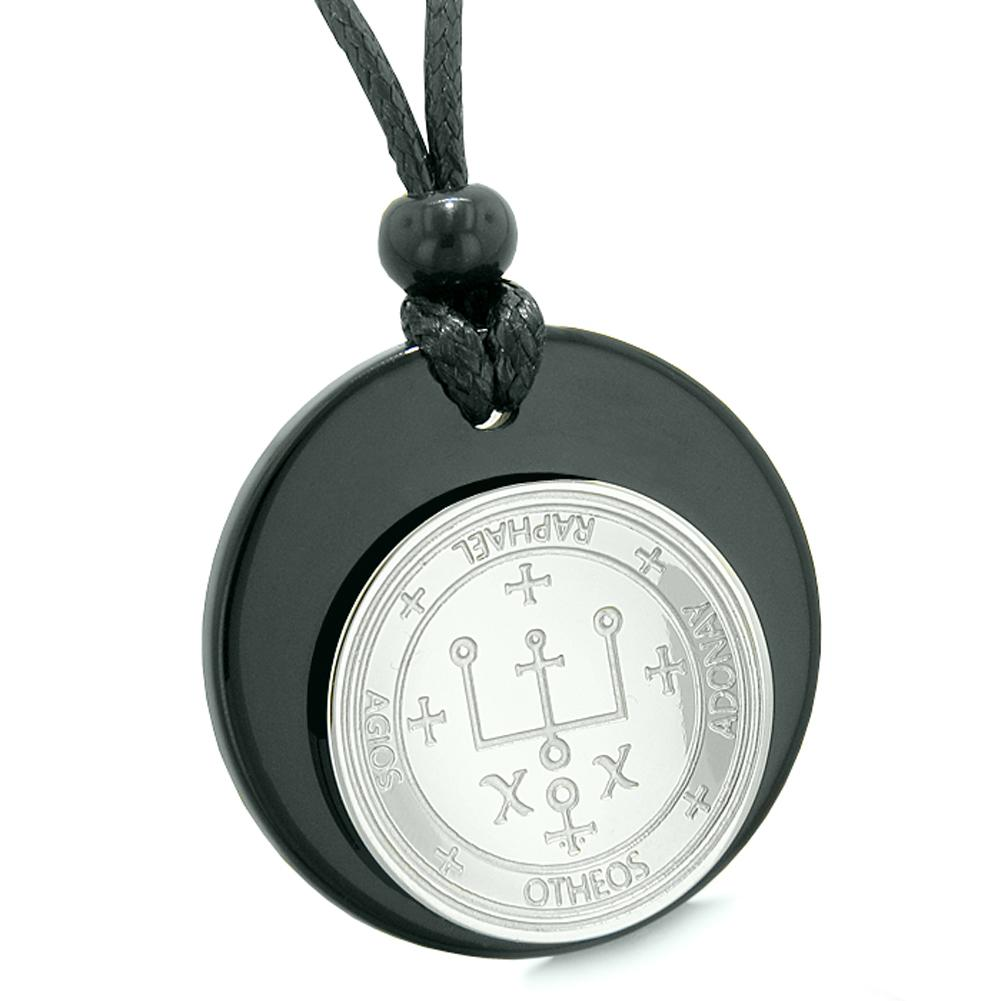 Unique Guardian Archangel Raphael Sigil Amulet Medallion Protection Spiritual Powers Black Agate Necklace