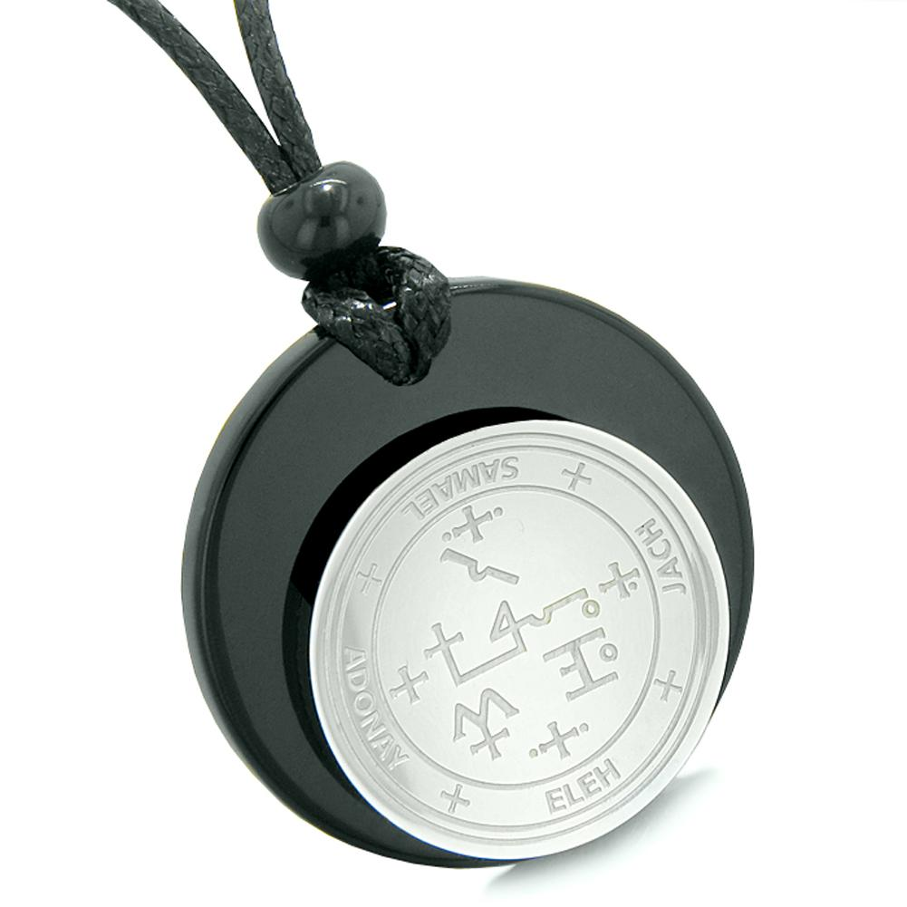 Unique Guardian Archangel Samael Sigil Amulet Medallion Protection Spiritual Powers Black Agate Necklace