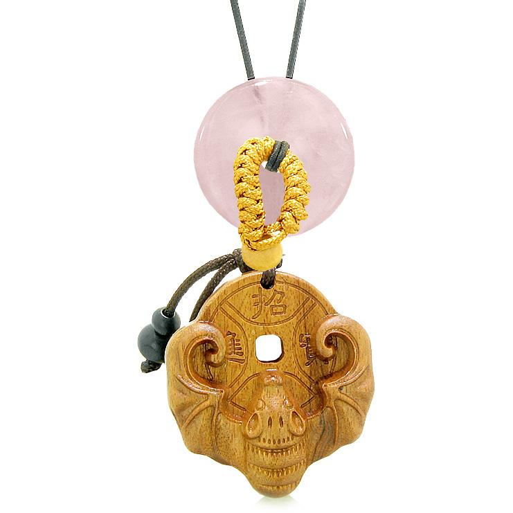 Magic Bat Fortune Car Charm or Home Decor Rose Quartz Lucky Coin Donut Protection Powers Amulet