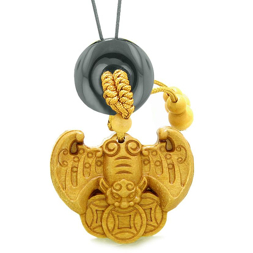 Flying Bat Lucky Coins Car Charm or Home Decor Black Agate Magic Donut Protection Powers Amulet