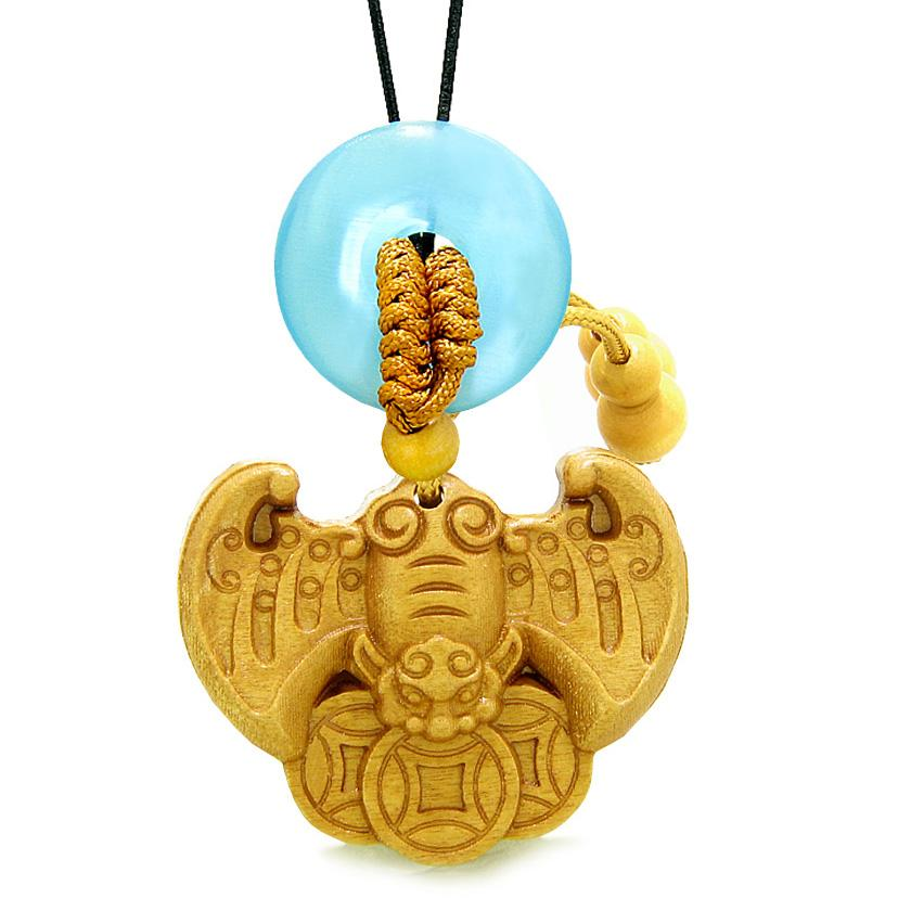 Flying Bat Lucky Coins Car Charm Home DecSky Blue Simulated Cats Eye Donut Protection Powers Amulet
