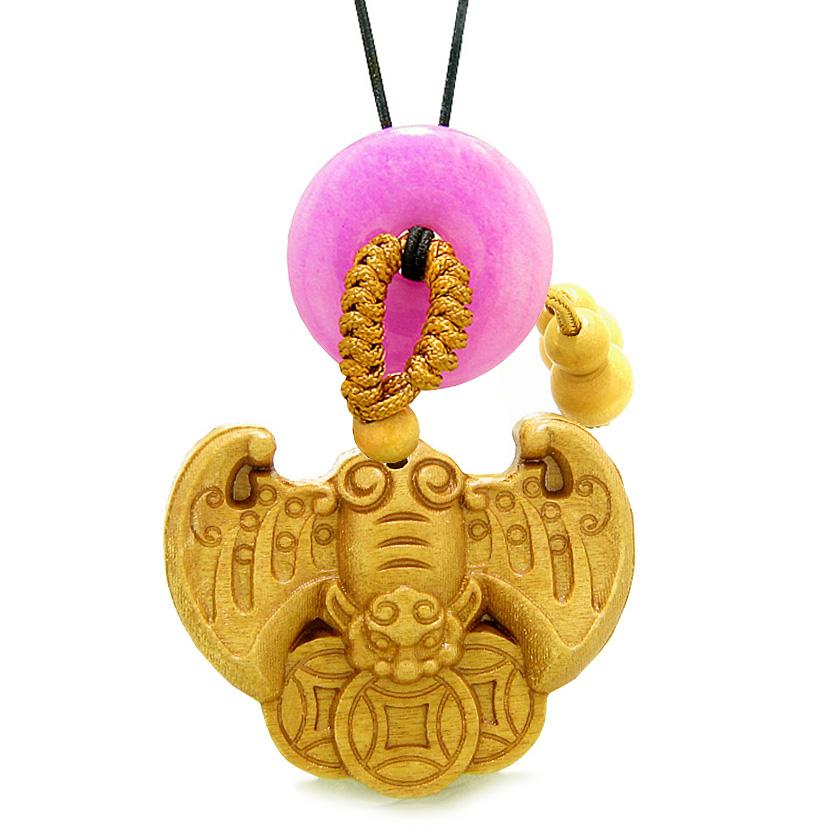 Flying Bat Lucky Coins Car Charm or Home Decor Hot Pink Quartz Donut Protection Powers Amulet