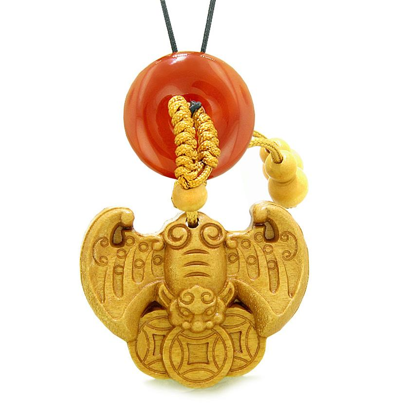Flying Bat Lucky Coins Car Charm or Home Decor Carnelian Magic Donut Protection Powers Amulet