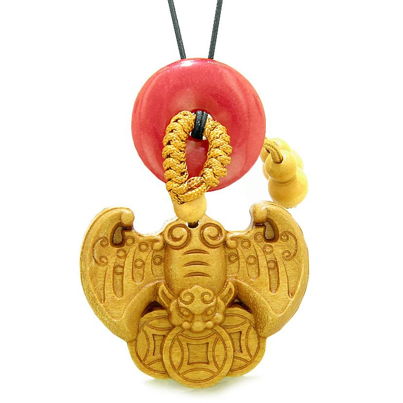 Flying Bat Lucky Coins Car Charm or Home Decor Red Quartz Magic Donut Protection Powers Amulet