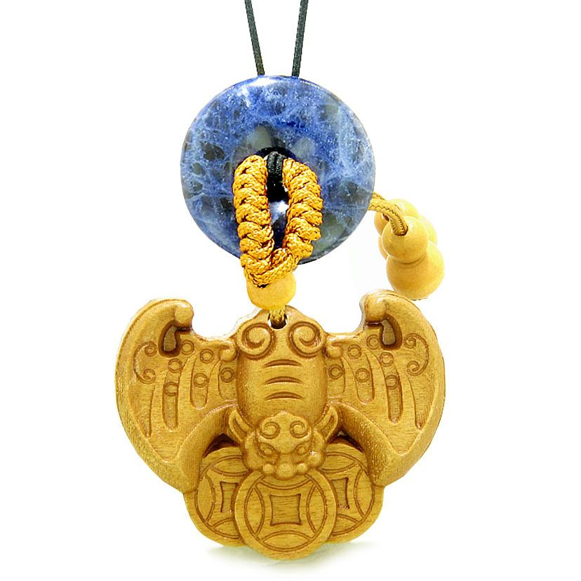 Flying Bat Lucky Coins Car Charm or Home Decor Sodalite Donut Protection Powers Amulet