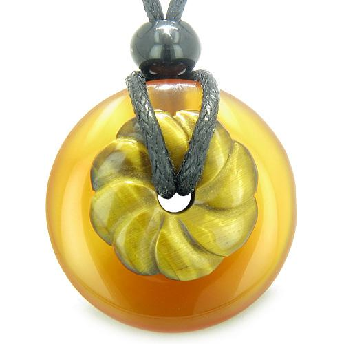 Double Lucky Amulet Magic Donut Flower Carnelian Tiger Eye Evil Eye Protection Pendant Necklace