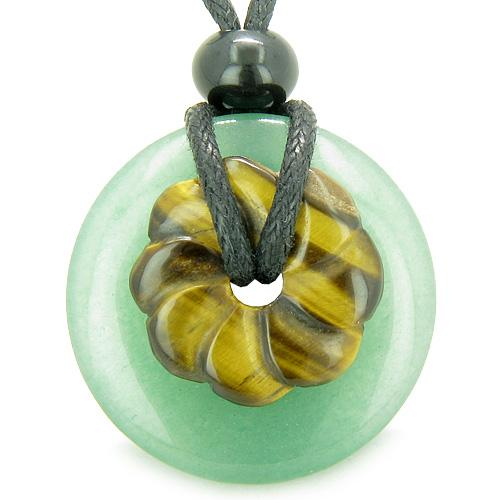 Double Lucky Amulet Magic Donut Flower Aventurine Tiger Eye Protection Healing Pendant Necklace