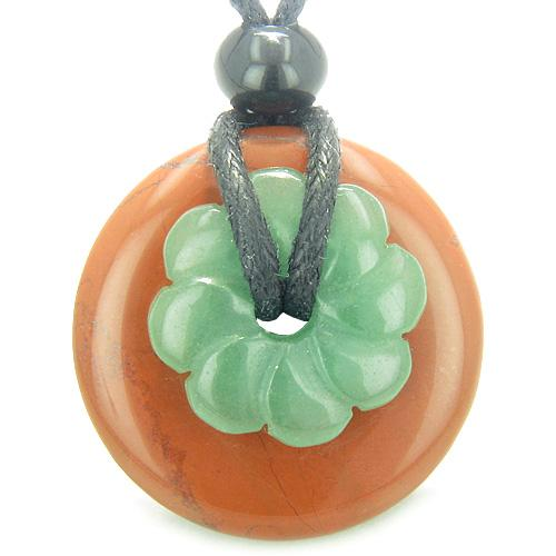 Double Lucky Amulet Magic Donut Flower Jasper Green Aventurine Protection Healing Pendant Necklace