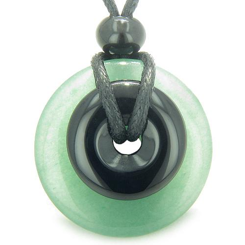 Double Lucky Amulet Magic Donuts Green Aventurine Black Onyx Protection Healing Pendant Necklace