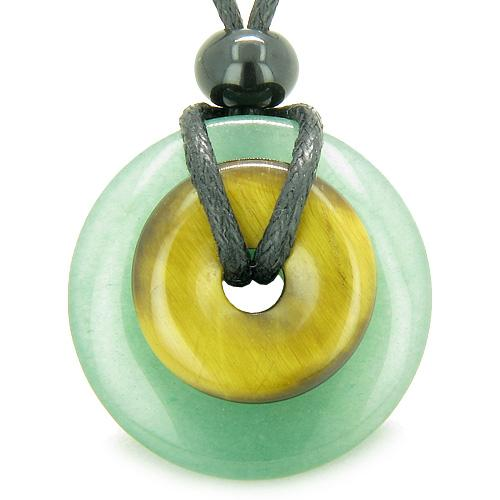 Double Lucky Amulet Magic Donuts in Green Aventurine Tiger Eye Protection Healing Pendant Necklace
