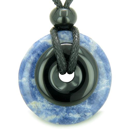 Double Lucky Amulet Magic Donuts Sodalite Black Onyx Spiritual Healing Pendant Necklace