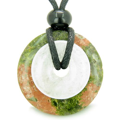 Double Lucky Amulet Magic Donuts Unakite White Jade Protection Healing Pendant Necklace