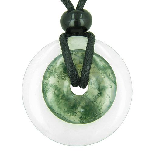 Double Lucky Amulet Magic Donuts White Jade Green Moss Agate Protection Good Luck Pendant Necklace