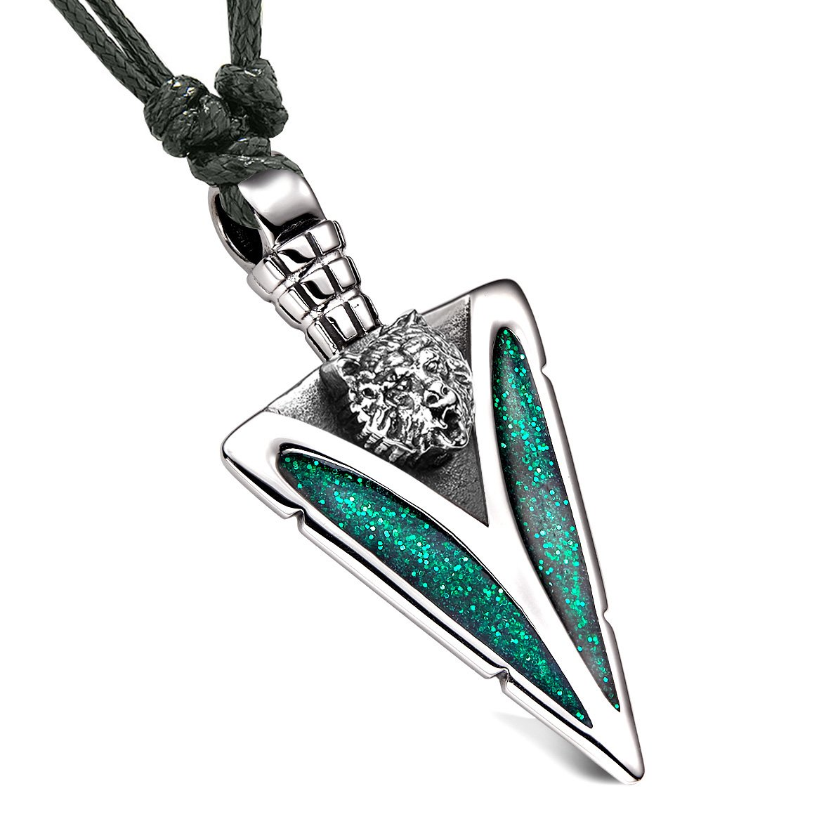 Arrowhead Grizzly Bear Head Brave Powers Protection Amulet Sparkling Royal Green Pendant Adjustable Necklace
