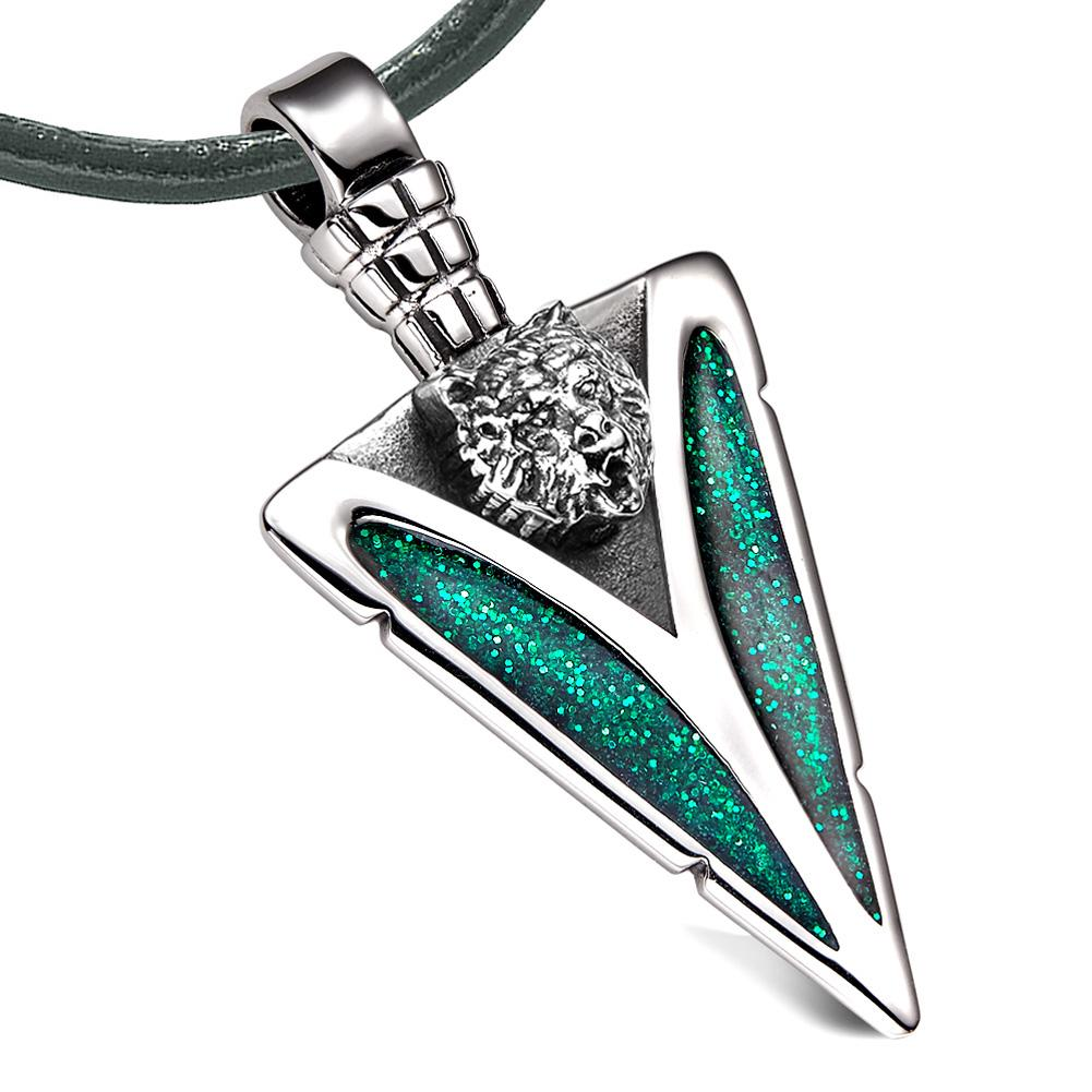 Arrowhead Grizzly Bear Head Brave Powers Protection Amulet Sparkling Royal Green Pendant Leather Necklace