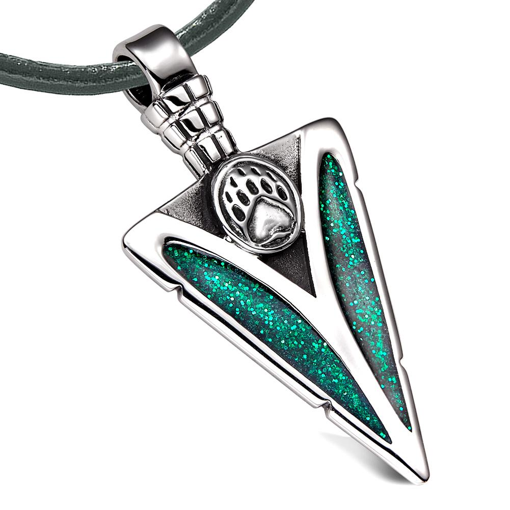 Arrowhead Grizzly Bear Paw Brave Power Protection Amulet Sparkling Royal Green Pendant Leather Necklace