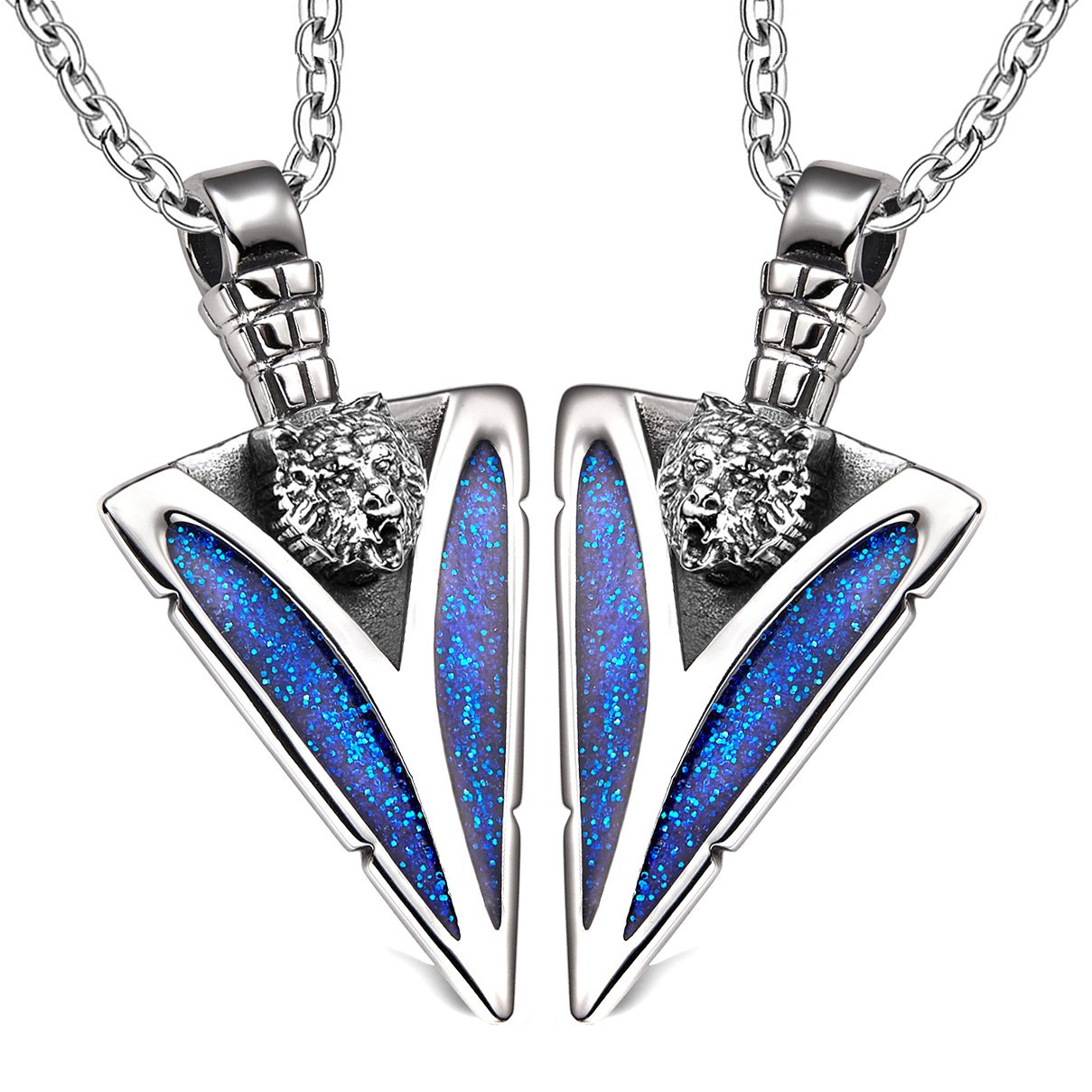 Arrowhead Wild Grizzly Bear Head Love Couples or BFF Set Protection Amulets Sparkling Blue Necklaces