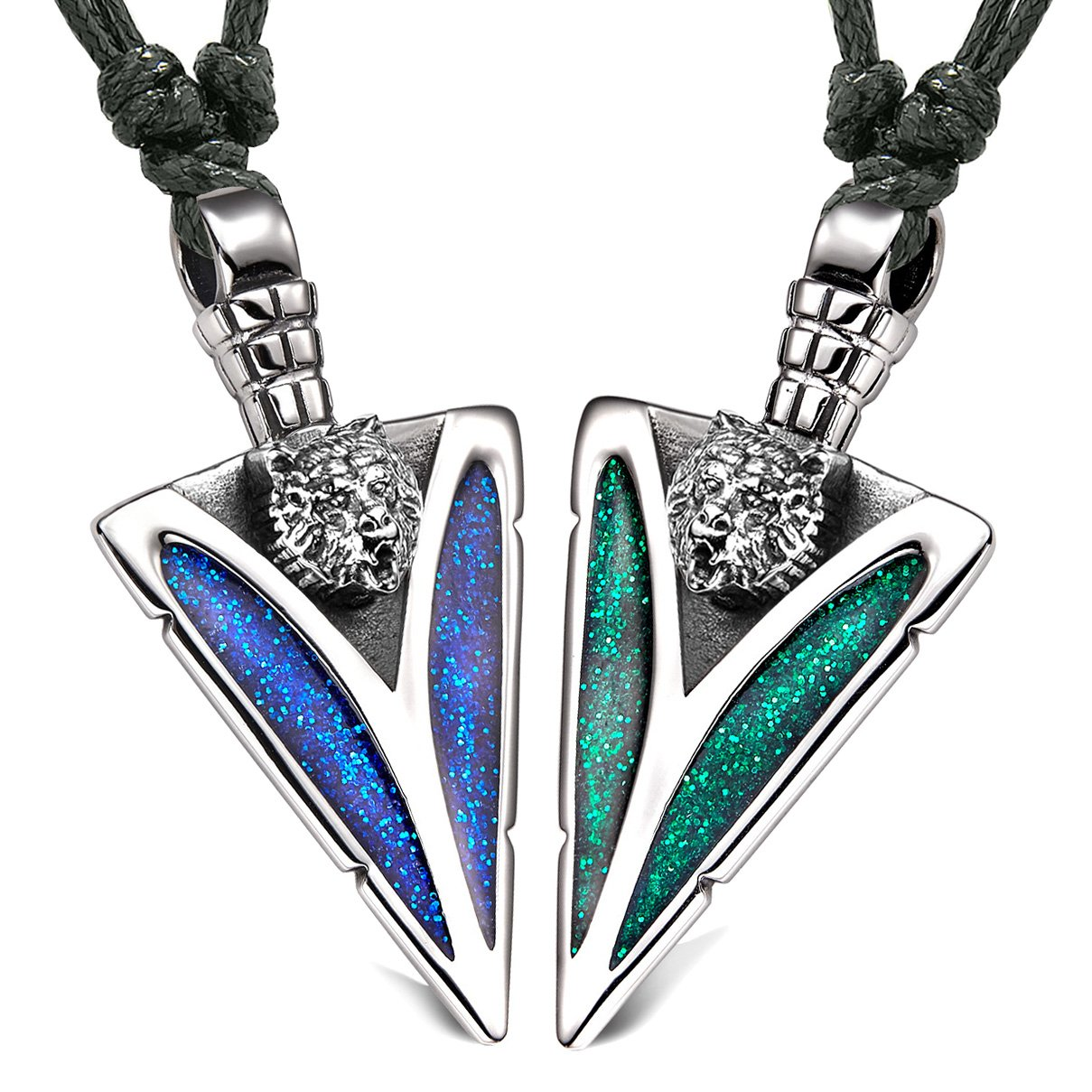 Arrowhead Wild Grizzly Bear Head Love Couples BFF Set Amulets Sparkling Blue Green Adjustable Necklaces